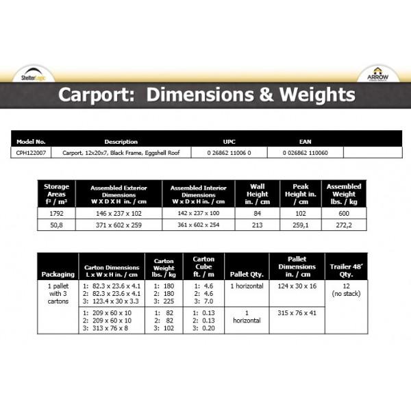 Arrow 12x20x7 Steel Carport Kit Cph122007