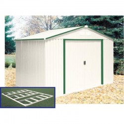 DuraMax 10x8 DelMar Metal Storage Shed Kit w/ Floor Kit - Neutral Ivory with Green Trim (50212)