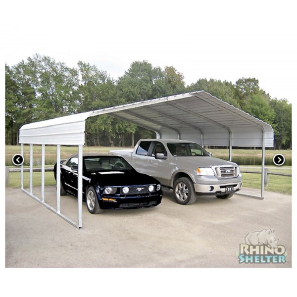 rhino shelter 22 39 w x 24 39 l x 12 39 h two car steel carport kit model st222412h. Black Bedroom Furniture Sets. Home Design Ideas