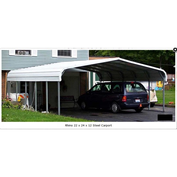 rhino shelter 22 39 w x 24 39 l x 12 39 h two car steel carport kit. Black Bedroom Furniture Sets. Home Design Ideas