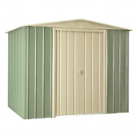 Globel 8'x6' Gable Roof Metal Storage Shed - Mist Green and Smooth Cream (GL8000)
