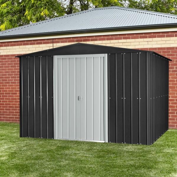 Globel 10 39 x 8 39 gable roof metal storage shed steel gray for Steel storage sheds