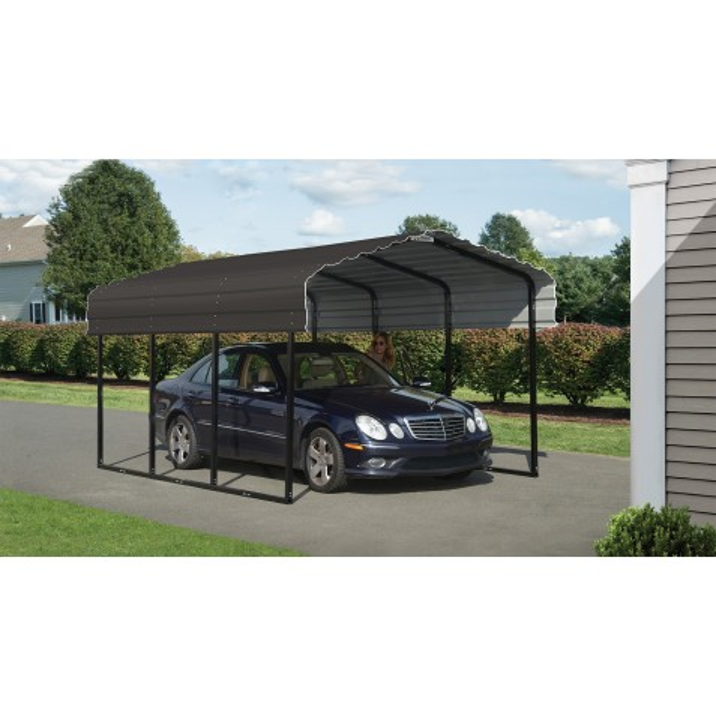 Arrow 10x15x7 Steel Carport Kit - Charcoal (CPHC101507)