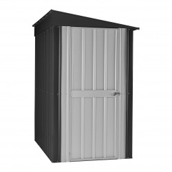 Globel 4x8 Lean-To Metal Storage Shed - Anthracite Gray and Silver White (GL4009)