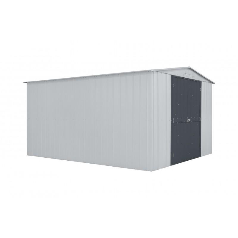 Globel 10x12 Gable Roof Storage Shed Kit  - Aluminum White/Slate Gray Hinged Door (GL1006)