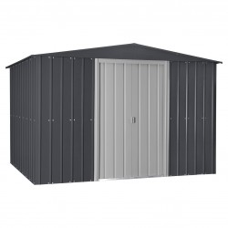 Globel 10x12 Gable Roof Storage Shed Kit - Steel Gray/Aluminum White (GL1009)