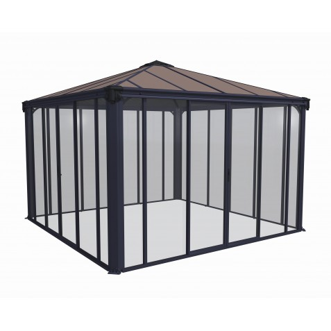 Palram 12x12 Ledro Enclosed Gazebo Kit Gray Bronze Hg9192