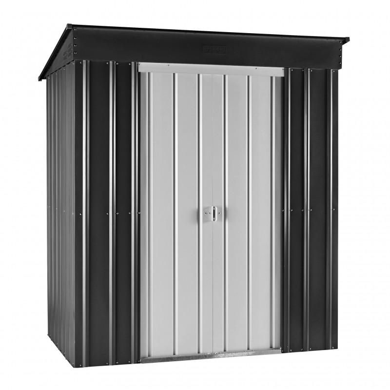 Globel 6x4 Skillion Metal Storage Shed Kit - Dark Grey / Aluminum White (GL6001)