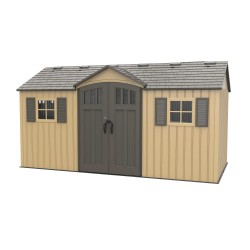 Lifetime 15x8 Outdoor Storage Shed Kit w/ Double Doors - Vertical Siding in Heather Beige (60234)