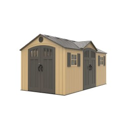 Lifetime 15x8 Plastic Shed Kit w/ Double Doors - Beige (60234)