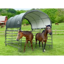 "ShelterLogic 10x10 Corral Shelter Powder Coated 1-3/8"" Steel Frame, 7.5 oz - Green (51530)"