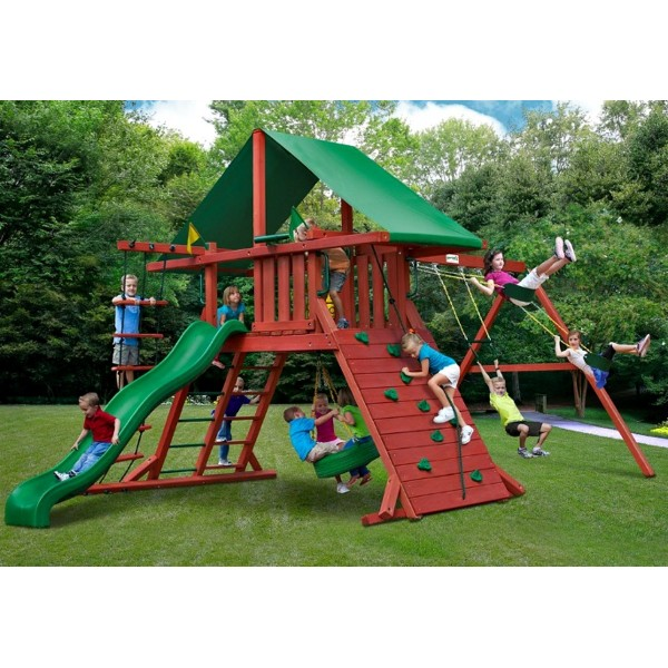 Gorilla Sun Valley I Cedar Wood Swing Set Kit Redwood 01 0010