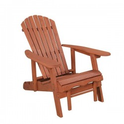 Leisure Season Reclining Adirondack Chair With Pull-Out Ottoman (AC7105)