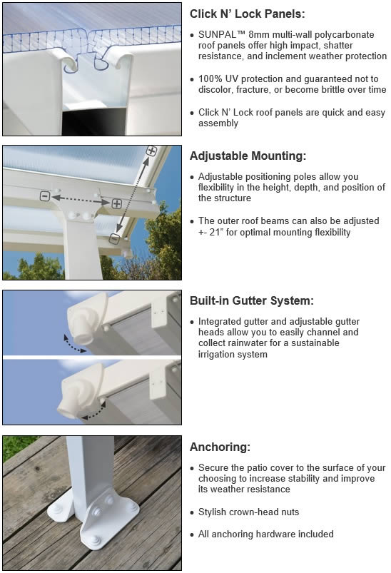 Palram White Feria Patio Covers Features and Benefits