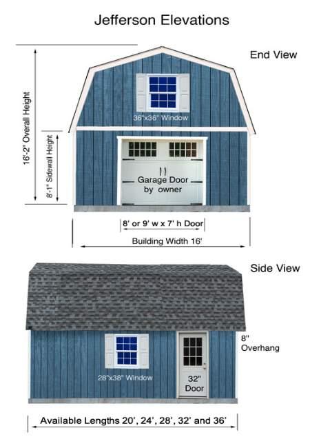 Best Barns Jefferson 16x20 Wood Garage Kit (jefferson_1620) Elevation Dimensions
