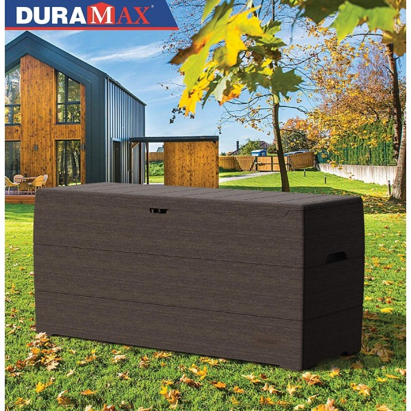 DuraMax Deck Box 71 Gallon - Gray (86600) This deckbox is made from materials that is strong enough to sit on.