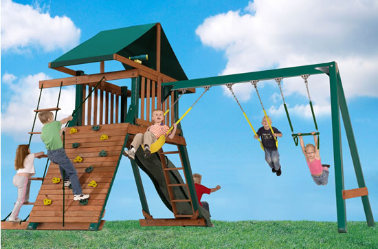 Handy Home Heartland Captain's Loft Wood Swing Set (4428) - assembled in backyard for childrens playground area