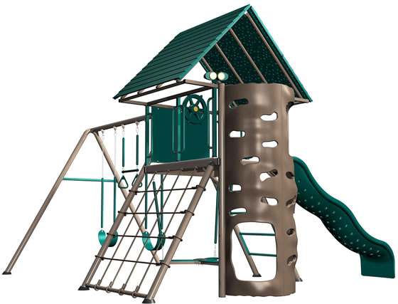 The Lifetime Deluxe Swing Set in Earthtone colors has all the activites; swings, slide, climbing wall and more!