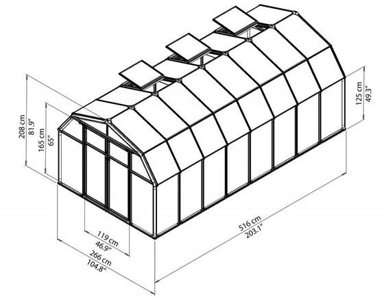 Rion 8x20 Hobby Gardener 2 Greenhouse HG7120 - measurements diagram