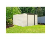 THE COMPLETE KIT! ARROW 10x12 VINYL DALLAS SHED w/ FOUNDATION & SHELVING FOR ONLY $989.95!!!